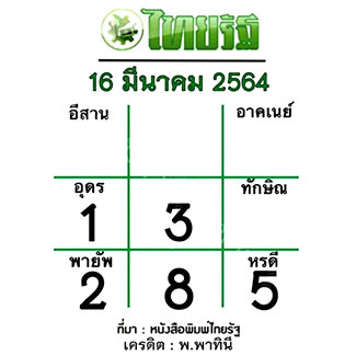 หวยไทยรัฐ 16/3/64